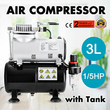 1/5HP Airbrush Air Compressor With 3L Air Tank Spray Gun Hobby Hose Filter