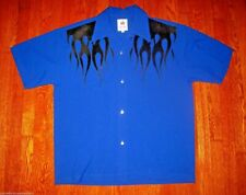 CHOCHIE CASUALS 1950s STYLE LOUNGE BOWLING SHIRT FLOCK FLAMES/BUTTONS XL