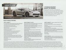 2015 Chevy Corvette Stingray 1LT 2LT 3LT info card