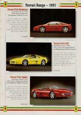 Ferrari 1997 UK Market Single Sheet Brochure F355 456 GT GTA 550 Maranello F50