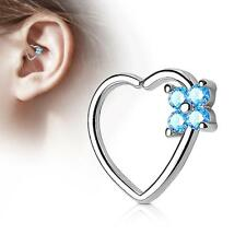 Silver 16 Gauge Heart  Ear Cartilage/Daith Hoop Ring with Aqua Flower Set CZ