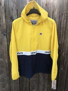 NWT $160 Levi's Water Resistant Retro Windbreaker Jacket Yellow Blue Sz XL