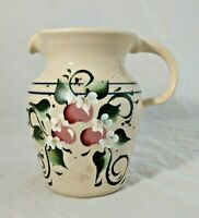 Hand Thrown Pitcher Hand-painted Cherry Blossom CASEY POTTERY Marshall Texas VTG