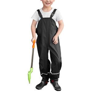 Children Kids Rain Dungarees Mud Trousers Waterproof Breathable for Girls BoysTQ