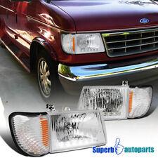 For 1992-2006 Ford E150 E250 E350 Econoline Van Headlights LED DRL+Corner Lamps