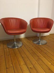 Walter Knoll Sessel / Stuhl mit Tulpenfuß Echt Leder