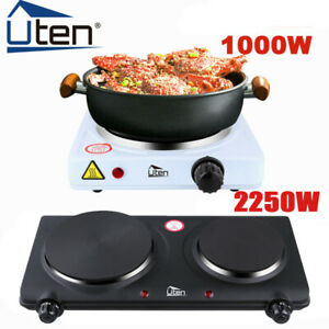 UTEN 1/2 Ring Hot Plate Hob 1000/2000W Electric Portable Table Top Cooker Stove