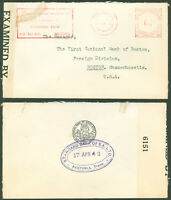 1942 WWII, PRETORIA S. AFRICA CDS, Censor Tape, Standard Bank- 1st Nat. Bank USA
