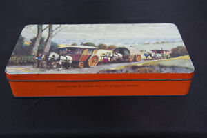 Vintage Cadburys Chocolate Biscuit Tin Lid Picture Horse Drawn Romany Wagons