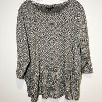 Lucky Brand Women's Top 3XL Long Sleeve T-shirt Boho Paisleys