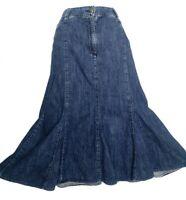 Per una M&S denim skirt size 14 blue midi flared godets pockets belt loops VGC