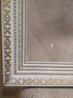 """1930's 40's Art Deco Gold white 13"""" x 11"""" picture frame with glass 12"""" x 9"""" in O"""