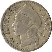 1897 Dominican Republic 10 Centavos Silver Coin KM#13 One Year Type