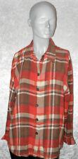 Breuninger Bluse orange/braun kariert Langarm Größe 40