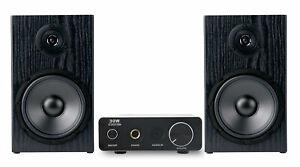 Design Mini Stereo Anlage HiFi Lautsprecher Kompakt Alu Verstärker Kabel Set 80W
