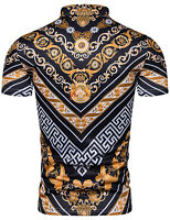 Mens Luxury Baroque Design Golden Floral Print Short Sleeve T Shirts Top Tees UK