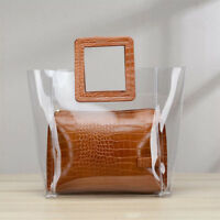 2PCS Women Leather Clear Transparent Jelly Clutch Bag Lady Casual Tote Handbag