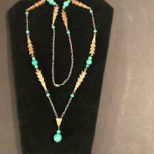 RARE ! Bliss PRE NAPIER Necklace ART DECO GLASS BEAD URANIUM JADE GREEN CARVED