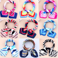 Women Square Silk Feel Satin Scarf Elegant Small Vintage Head Neck Hair Tie Band