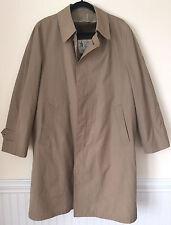 LONDON FOG Maincoats Mens Tan Khaki Trench Coat Faux Fur Liner Jacket Sz 42