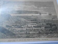 Gravure 1874 - La Pêche aux Harengs sur les cotes d'Angleterre