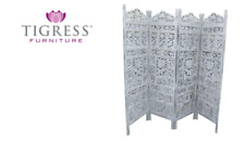 """""""Elephant"""" Timber Hand Carved Wooden Screen Whitewash"""