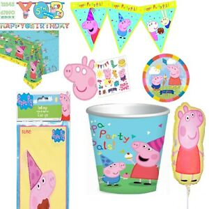 Peppa Pig Cup Plate Letter Banner Bunting Table Cover Balloon Party Decorations