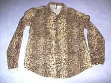 VINTAGE  LADIES  VIA SETA SILK SHIRT SNAKESKIN PATTERN SIZE MEDIUM