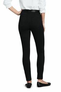 Lands' End High Rise Slim Straight Leg Ankle Twill Jeans Dp Black 6 # 504513