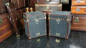 Black Leather Chestnut Brown Trimmed English Occasional Side Table Trunk