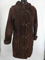 WOMENS FOXHOLE BROWN CORDROUTY ZIP UP WARM WINTER HOODED COAT JACKET SIZE 10