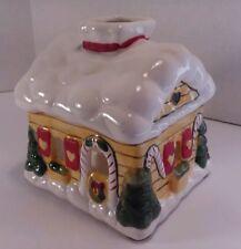 Vintage 1986 Jasco Home for the Holidays Christmas Cottage Tea Light Holder