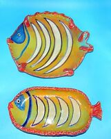 2 MID-CENTURY ITALY MAJOLICA 3D FISH TRAY PLATTER PLATE HAND PAINTED