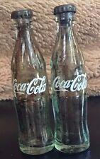 MINI GLASS COKE BOTTLES Lot of 2 VINTAGE 3 inches METAL CAPS Empty