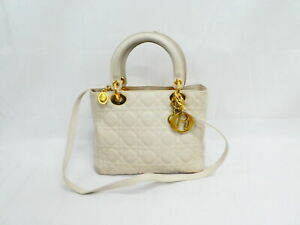 Auth Christian Dior Lady Dior Handbag Shoulder Bag White/Gold Leather - AUC0254