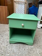 Green Painted Pine Bedside Cabinet Cupboard Unit with Drawer
