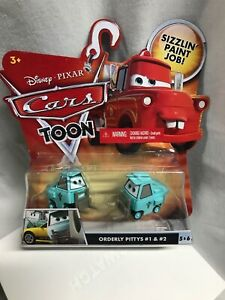 Disney Pixar Cars Toon Orderly Pittys #1 and #2 with Sizzlin Paint Job!