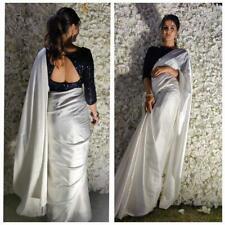 Bollywood Indian Pakistani Ethnic Sari White Party Wear Saree Designer Blouse SL