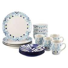 Rachael Ray Dinnerware Ikat 16-Piece Stoneware Dinnerware Set, Blue Print - 5876