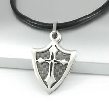 Silver Black Dog Tag Shield Cross Stainless Steel Pendant Black Leather Necklace