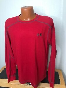 Mens Under Armour Catalyst Thermal L/S Athletic T-Shirt Large (L) Red