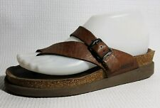 Mephisto Womens 6 - 6.5 M Brown Leather Slides Thong Sandals Shoe Strappy Casual