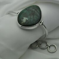 Heavy 925 Sterling Silver Malachite Set Bracelet with T-Bar Toggle Fastener