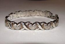 "Vintage 7"" Sterling Silver 925 Heart X Kisses Bracelet 11 Grams"