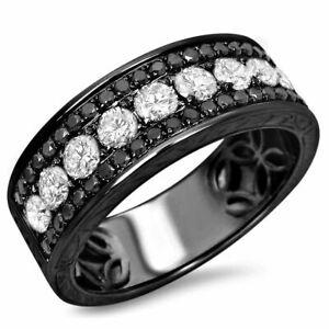 Mens 1.2ct Black & White Diamond 14k Black Gold Over Wedding Band Ring