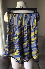Petro Zillia Print Skirt Anthropologie 100% Silk XS X-Small Multi Color