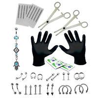 PRO Piercing Kit Hamsa Belly Button Ring Set 16G Body Jewelry Needles Forceps