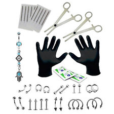 PRO Piercing Kit Hamsa Belly Button Ring Set 16G Body Jewelry Needles Forceps