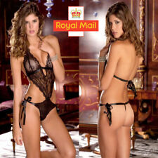 Lady V neck Women Sexy Lace Lingerie Babydoll Thong Underwear Nightwear Black