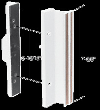 White Standard Mortise - Style Sliding Glass Door Handle with 3-15/16""